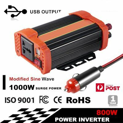 800W (1000 watt max) Power Inverter 12-240V M Sine Wave D9to Charger USB Adapter