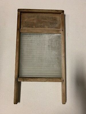 "Antique National Washboard Co. No. 860 ""The Glass King"" ribbed glass washboard"