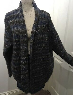 Size 18-20 Vintage Oversized Mohair Cardigan , Cable , Multicolured , 80s Style