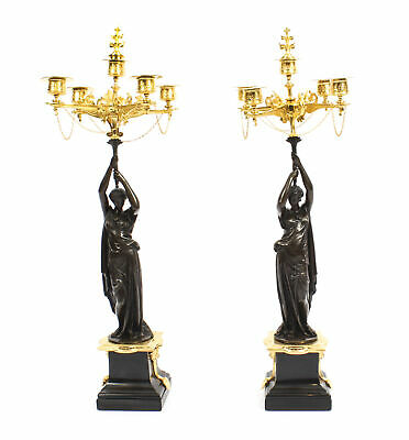 Antique Pair Patinated Bronze Figural Candelabra Jules Salmson 19th C