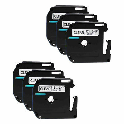 6PK 12mm M-K131 MK131 Black on Clear Label Tape For Brother P-touch PT-55 PT-80