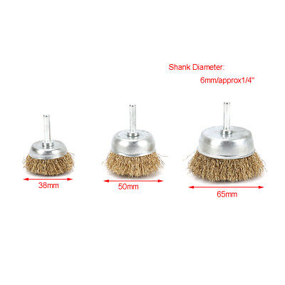 """3Pcs 38~65mm Copper Steel Wire Wheel Cup Brush Polishing Rust Removal 1/4"""" Shank"""