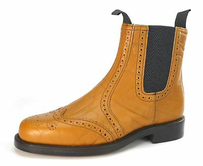 Charles Horrel Made in England Welted Brogue Chelsea Tan Mustang Leather Sole