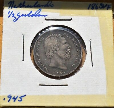NETHERLANDS 1863 1/2 Gulden Silver has been graded at VF