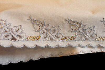 Set Of 2 Vintage Ornate Embroidered Grey Rose Bud & Gold Thread Pillowcases