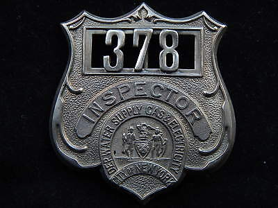 Early Numbered New York City Dept.Water Supply Gas & Electricity Inspector Badge