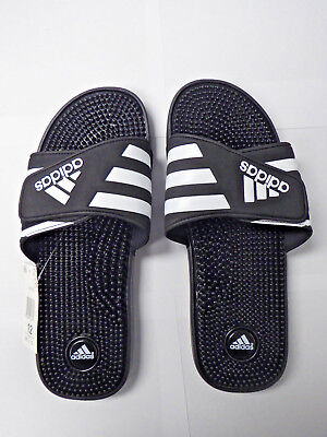 def9c51e9 NEW MEN S ADIDAS Adissage slides Navy blue white massage Sandals ...