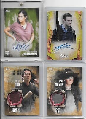 The Walking Dead Auto Relic #'d Lot Of 4! Tara Mold Ssp /25 Glenn Carl Aaron /99