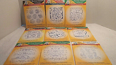 "Lot of 9 ""Aunt Martha's""Hot Iron Transfers for Embroidery, Needlepoint, Quilting"