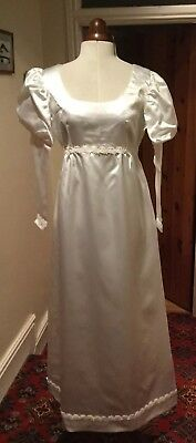 VINTAGE 1960's REGENCY STYLE WHITE SATIN WEDDING DRESS