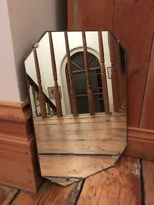 "Vintage Rectangular Frameless Mirror 14""x11"" On Chain"