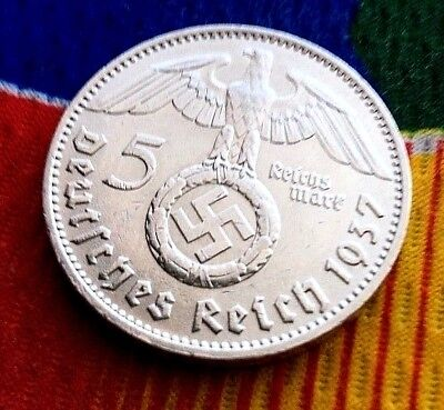 1937 D 5 Mark German WW2 Silver Coin Third Reich Swastika Reichsmark