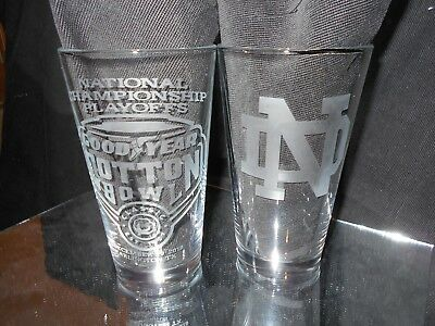 2018 NCAA COLLEGE FOOTBALL PLAYOFF COTTON BOWL NOTRE DAME ETCHED 16oz GLASS (2)