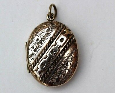 Large Antique Victorian Gold Plated Or Pinchbeck Locket. Forget Me Not's.