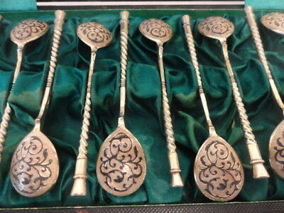 Set of 12 antique Russian silver 84 niello enamel spoons in  box