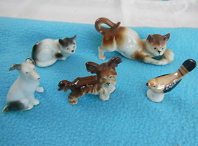 5 figurines animaux anciennes faience porcelaine chat chien oiseau GERMANY