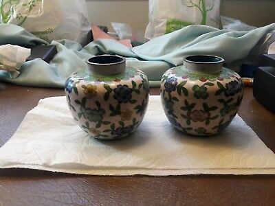 Pair Of 2 Vintage Chinese Cloisonne Vases Multi-Colored Floral Pattern