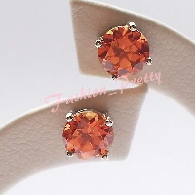 Hot Gift! Pretty 2Ct Created Padparadscha Sapphire Earrings In Sterling Silver