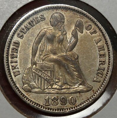1890 Seated Liberty Dime, Almost Uncirculated, Nice Coin for Type  0503-01