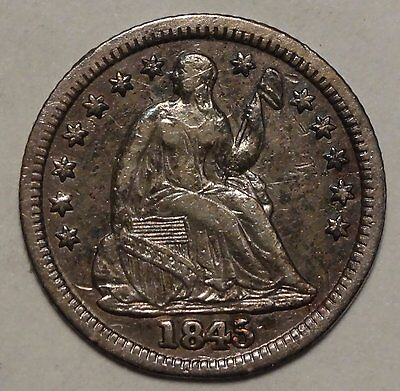 1845 Seated Liberty Half Dime, Nice Type Coin  0317-27