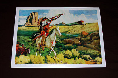 Meeting of The Chiefs Santa Fe Railroad Art print Poster 1949 train Super Chief