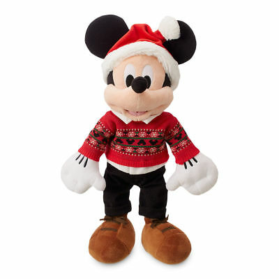 """New Disney store Mickey Mouse Holiday Plush Toy Doll 16"""" 2018"""