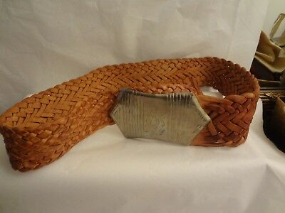 Women's Brown Braided Morocco Leather Belt One Size Fits Most