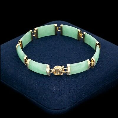 "Antique Vintage Deco Retro 14k Gold Chinese Carved Jadeite Jade Fu ""福"" Bracelet"