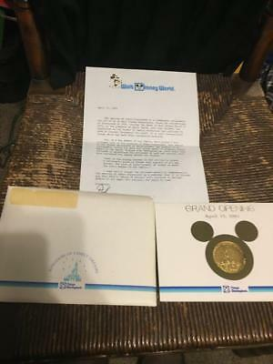 GRAND OPENING TOKYO DISNEYLAND CAST MEMBERS COIN & Letter 1983 RARE WDW