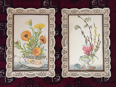 Antique Pair of Framed Chinese Watercolors—Flowers in Planters 1943.