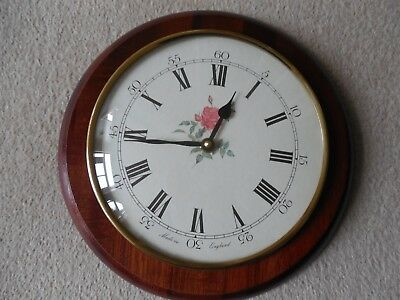 Vintage, Round Wall Clock with a Rose, Quartz Movement, Made in England, 27 cm