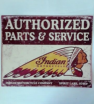 Authorized Parts & Service INDIAN MOTORCYCLE Vintage Tin Metal Sign