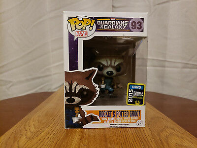 SDCC Comic Con 2015 Funko Pop Guardians Rocket Raccoon and Potted Groot IN HAND