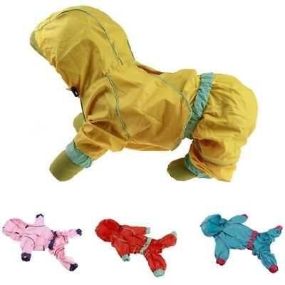Dog Raincoat Hooded Waterproof Faux Leather Puppy Clothes Small Medium Large 1Pc