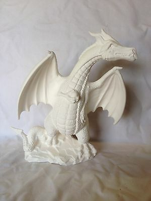 """Large Wyvern Dragon 9"""" Tall Ceramic Bisque Ready To Paint And Ship"""