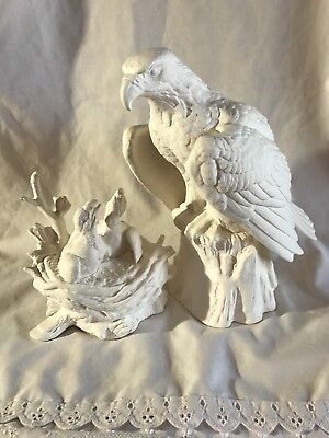 Eagle With Nest And Eaglets Ceramic Bisque Ready To Paint