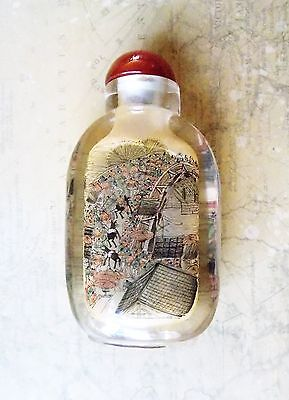*Hand Painted Vintage Chinese Rock Crystal Snuff Bottle Carnelian Stopper