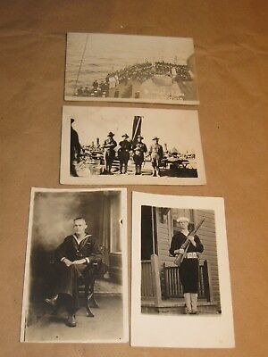 Lot Of 4 Military Postcards 3 Unused 1 Posted Interesting Subject Matter