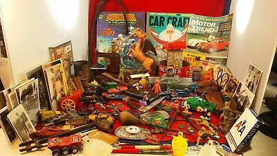 Huge Vintage Junk Drawer Lot Knife tools Toys old Diecast cars collectibles pipe