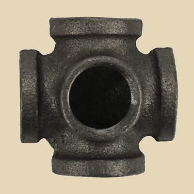 "1/2"" BLACK MALLEABLE IRON CROSS 5-way TEE fitting pipe npt US SHIP"