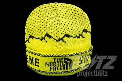 Supreme The North Face Fold Beanie Sulphur Fw18 Tnf Yellow Expedition Box Logo