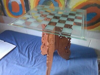 glass wood chess table