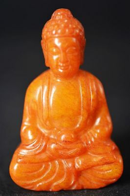 Unique Chinese old jade carved Buddha statue/pendant   G43