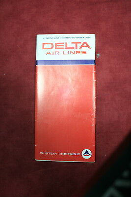 Delta Air Lines Time Table, 1980