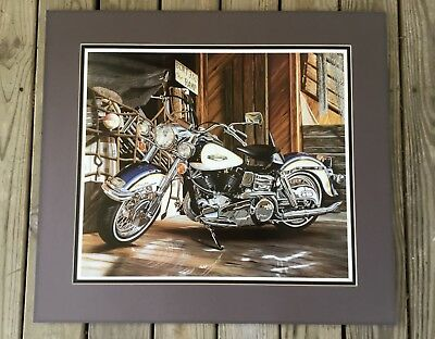 """Harley Davidson Motorcycle Art Scott Jacobs Signed """"catch Of The Day"""" Triple Mat"""