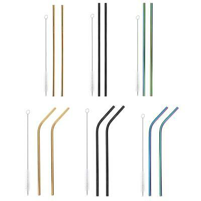 2Pcs Reusable Stainless Steel Metal Cocktail Drinking Straw Straws+Cleaner Brush