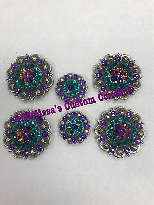 Western Saddle Set Of Conchos Plus Additional Headstall Conchos