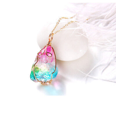 Women Rainbow Natural Crystal Stone Necklace Geometric Pendant Chain Jewelry Hot