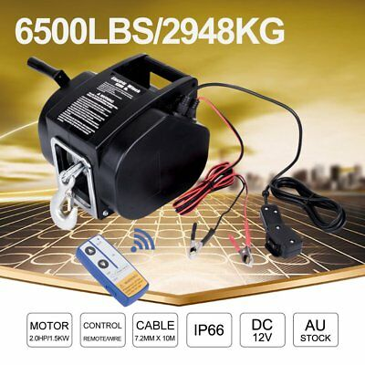 6500LBS Remote Electric Boat Winch 12V Portable Detachable 10m Steel Cable