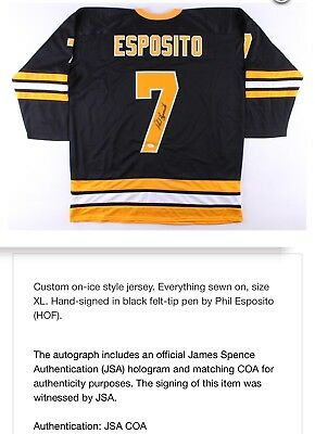 Autographed Signed PHIL ESPOSITO Boston Bruins White Hockey Jersey JSA COA  Auto c2f90b8b0